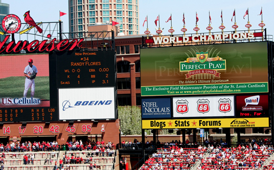Perfect Play LED Signage above the crowd at Busch Stadium, the home of the St. Louis Cardinals